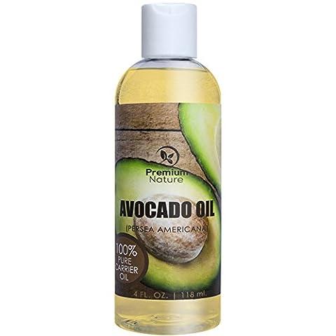 Premium Nature Avocado Oil,Natural Carrier Oil 4 oz, Rich In Protein, Amino Acids & Vitamins A, D & E, Prevents Aging, Treats Dry, Irritated & Acne Prone Skin 4