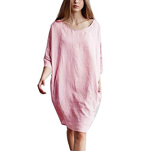 Lialbert Dame V-Ausschnitt Kariertes Leinenkleid T-Shirt-Kleid 3/4-ÄRmeln Freizeitkleid Minikleid Sommerkleid Tunika Frauen Etuikleider Lockerer Maternity Freizeit Rock Rosa -