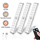 Litake lampe de placard sans fil, 20 LED Veilleuse USB Rechargeable télécommande...
