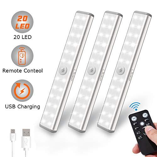 Litake LED Schrankbeleuchtung USB, 20 LED Kabellos Unterbauleuchte Küche Fernbedienung Aufladbar Aufkleben Nachtlicht für Wandschrank(USB Wiederaufladbar 20 LED 3er Pack) -