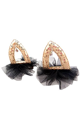 1 paar Pailletten Katze Ohr Haarnadel Hair Clip Haar Accessoire für Kids Halloween Weihnachten Gold Ohr schwarz Tüll (Katze Ohr Haar Clips)
