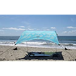 Neso Tents Tienda Grande Beach, 2,1 m (7 pies) de Altura, 2,7 m (9 pies) x 2,7 m (9 pies), Esquinas reforzadas y un Bolsillo más frío(Aqua Fronds)