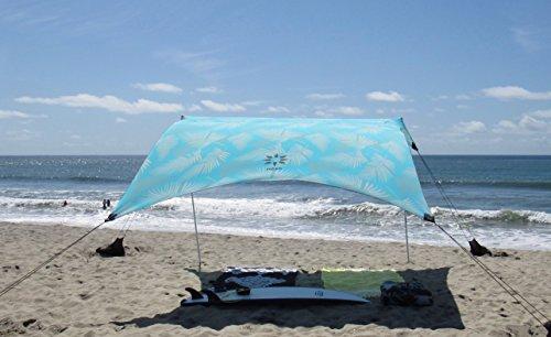 Neso Zelte Grande Beach Zelt, 2,1 m Hoch, 2,8 m (9 ft) x 2,8 m (9 ft), Verstärkte Ecken und Kühlfach (Aqua Fronds) (Sonnenschirm 9 Ft)