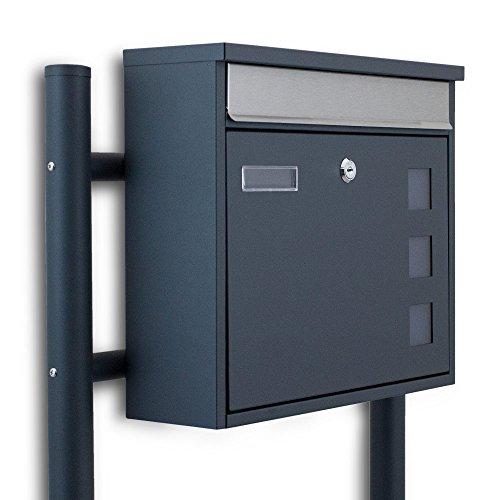 BITUXX® Freistehender Standbriefkasten Briefkastenanlage Fronteinwurf mit Quadratfenster Dunkelgrau Anthrazit