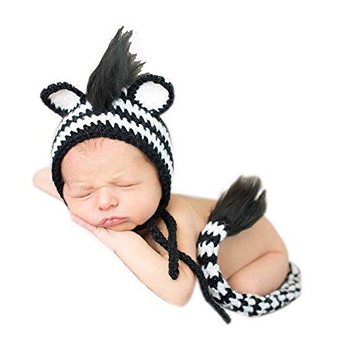 Neugeborene Baby Fotografie Requisiten Boy Girl Crochet Kostüm Outfits Cute Zebra Hat Schwanz (Outfits Crochet Baby Boy)