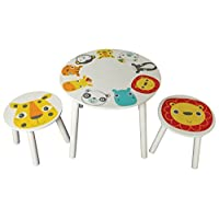 Stuff4kids Kidsaw Safari Table & 2 Stools, Wood Multi, 50x50x45 cm