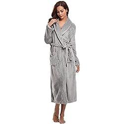 Aibrou Pyjama Femme Polaire Robe Chambre Homme Longue Hiver Sortie de Bain Peignoir Pas Cher personnalisé - Gris Clair - EU 36-38 (Fabricant : S)