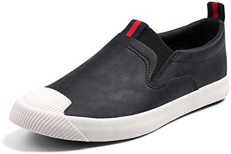 YIXINY Schuhe Mode PU Herrenschuhe Teenager Plate Schuhe Freizeit Nichtstuer Frühling / Herbst ( Farbe : Schwarz