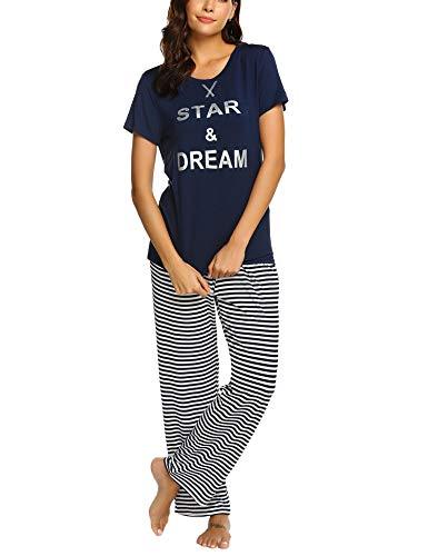 Unibelle Damen Schlafanzug Lang Sommer Pyjama Nachtwäsche Hausanzug Kurzarm Rund Ausschnitt