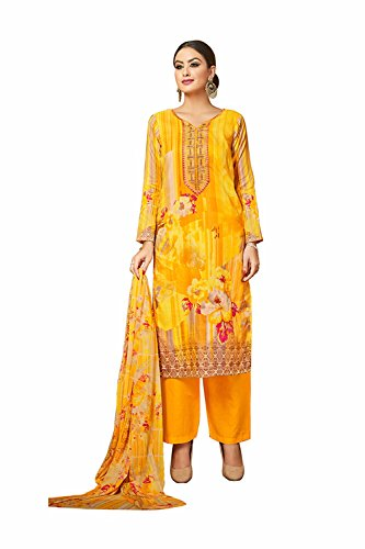 DaFacioun Indian Women Designer Party Wear Salwar Kameez 153495-36 (Chiffon Gelb Kameez)