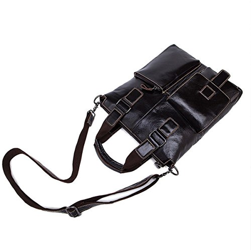Herren Echtes Leder Handtasche Lässig Business Aktentasche Einfarbig Schulter Umhängetasche Darkbrown