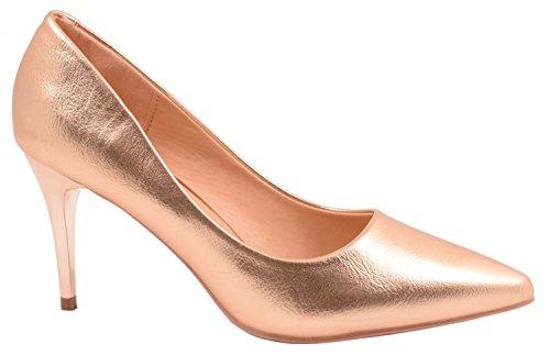 Elara Damen Pumps Spitze High Heels Stilettos Lack| chunkyrayan 6356-P-Champagner-38