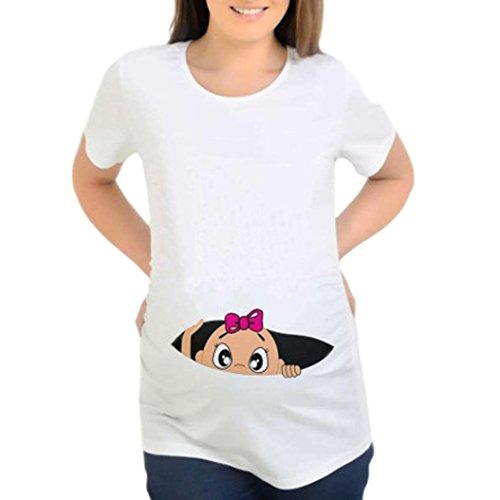 ღ allattamento camicia da notte per donna - feixiang® maglietta per l'allattamento elegante ღ camicie e casacche da premaman camicia da donna per maternità stampa incinta t-shirt casual (bianco, l)