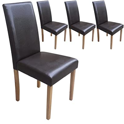 Set of 4 Brown Leather Look Contemporary Dining Chairs - low-cost UK light store.