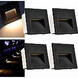Arote 4er Set 3W LED Wandeinbauleuchte Wandleuchte Treppenlicht Stufenlicht Beleuchtung Lampe Alu 230V warmweiß IP65 wasserdicht, Schwarz Gehäuse