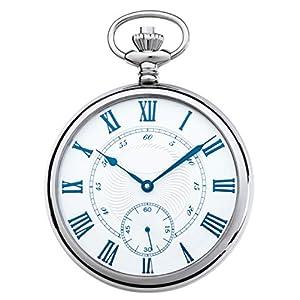 JEAN JACOT Taschenuhr – Zeitloses Accessoire für KULTIVIERTE Herren – Poliertes Edelstahlgehäuse – Kleine Sekundenanzeige auf '6' – Inklusive Kette (Gehäuse-Ø 50 x 12 mm) – C335328