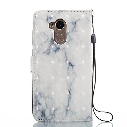Huawei Honor 6A (5.0 pouce) Coque , Marbre Étui Protection Wallet PU en Cuir Housse la Haute Qualité Pochette Anti-rayures Couverture Bumper Rabat Magnétique Antichoc Cuir Véritable Case Anfire Cover  Blanc