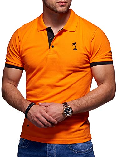behype. Herren Kurzarm Basic Kontrast Polo-Shirt 20-0337 Orange XXL