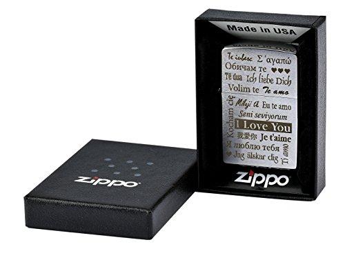 """Zippo mit Gravur """"I Love You"""" / """"Ich liebe Dich"""" in mehreren Sprachen auf Chrome brushed Benzinfeuerzeug"""