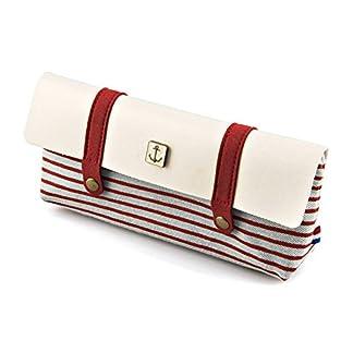 Caja de lápices de lona, Tukistore Bolsa de cosméticos de gran capacidad Bolsa de almacenamiento de hilera de bolso de rayas vintage para damas y estudiantes