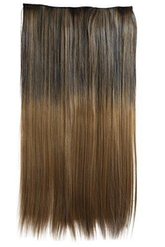 Prettyshop xxl 5 clips one piece di clip in extension parrucche dei capelli lisci a pelo lungo 60 cm ombre marrone mix # 1bt27 c72