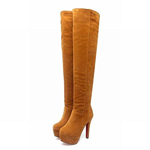 Mee Shoes Damen Reißverschluss runde Plateau langschaft high heels Stiefel (34, Gelb)