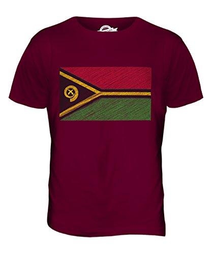 CandyMix Vanuatu Kritzelte Flagge Herren T Shirt Burgunderrot