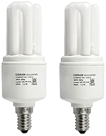 Osram 8 Watt mini Stick  CFL Bulb E27 Yellow (Pack of 2)