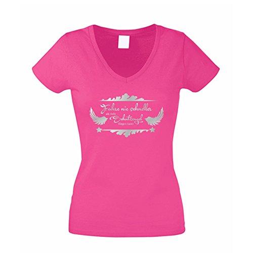 Damen V-Neck T-Shirt - Fahre nie schneller als Dein Schutzengel fliegen kann, S, Fuchsia-Silber