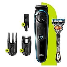 Braun Beard Trimmer BT3240 and Hair Clipper for Men, Lifetime Sharp Blades, 39 Length Settings, Black/Blue, UK Two Pin Plug