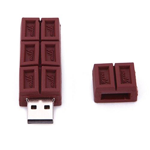 Naisidier High-Speed 2.0 Mini USB Stick Flash Drive Cartoon Schokolade Chocolate 3D Braun 128GB