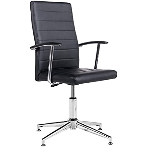 Silla de escritorio para despacho modelo Look con base fija color negro – Sedutahome