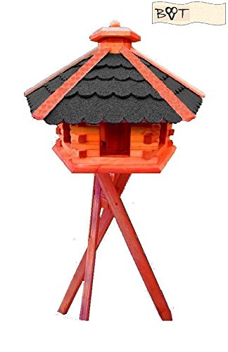 Bird Feeder Xxxl Vöglehus Bird House, With Roof Black, Charcoal, B60atms In Wood With Silo And Stand