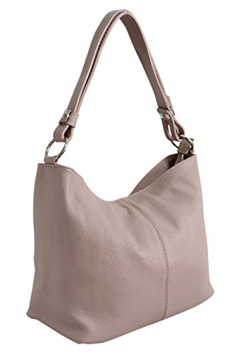 AMBRA Moda Damen Leder Handtasche Schultertasche Umhängetasche Hobo bag GL005 (Altrosa)