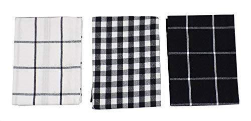 3x Gingham Karo schwarz weiß 100% Baumwolle Küche Geschirrtücher