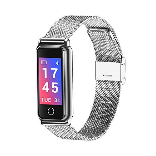 Smart Bracelet - Wasserdichtes Armband Mit Schrittzähler Herzfrequenz Schlafüberwachung Kalorienzähler Edelstahl Mode Armband, Kompatibel Mit Android IOS,Silber -
