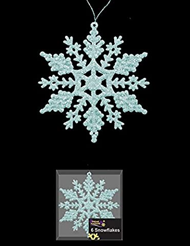 Pack Of 6 Baby Blue Glittery Hanging Snowflakes Christmas Tree