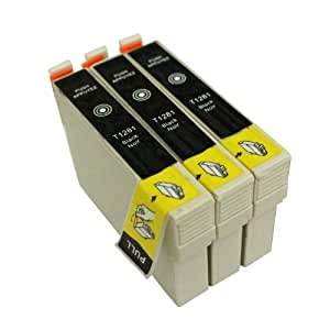 AA+inks Compatible Ink Cartridge Replace to 1281 T1281 BK for Epson SX130 BX305F BX305FW S22 SX125 SX235W SX420W SX425W SX435W SX445W (3 X T1281Black)