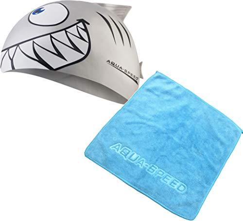 Aqua Speed - Shark Kinder Badekappe + Mikrofaser Handtuch | Hai-Fisch Badehaube | Bademütze, Modell:Set Shark & Handtuch/Silber