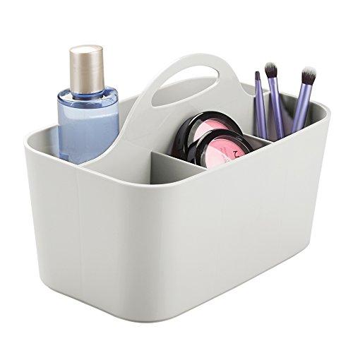 mDesign Kosmetik-Organizer grau - Aufbewahrungsbox mit 4 Fächern - perfekte Schminkaufbewahrung aus...