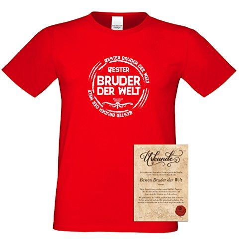 Geburtstagsgeschenk Bruder :-: Herren-Motiv T-Shirt mit Urkunde besten Bruder :-: Weihnachtsgeschenk :-: Bester Bruder der Welt :-: Geschenkidee für Männer auch Übergrößen 3XL 4XL 5XL rot-06