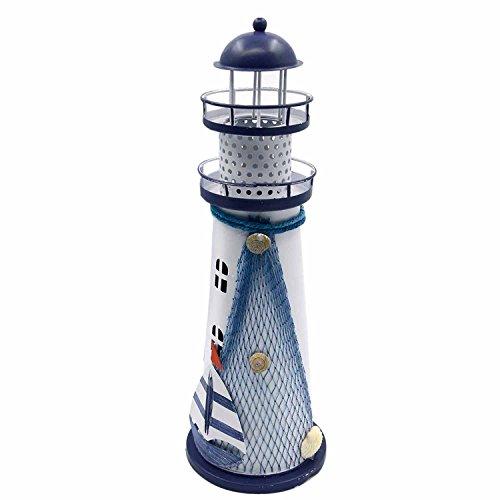 Home Office Dekorative Metall Ozean Leuchtturm geprägt Farbwechsel LED-Laterne-Nachtlicht Lampe Zufall Stil -