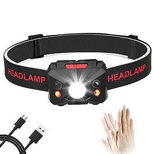 Eletorot USB Recargable Linterna Frontal LED Linterna de cabeza Luz Frontal Lampára de Cabeza,5 Modos de luz,Ligera Elástica, para Ciclismo, Correr, Deporte nocturno