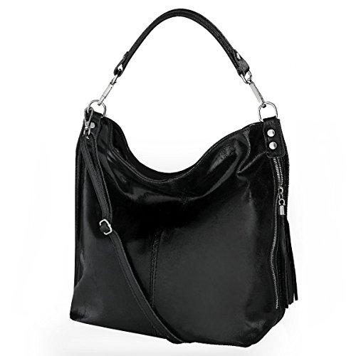 Shopper borsa, borsa a tracolla, Mod. 2106 pelle Italy Black