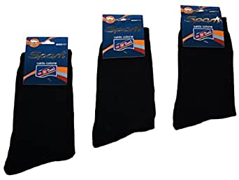 Lot de 12 paires de chaussettes pour homme 85%  coton, 15%  élasthanne-noir-r unigröße.