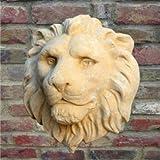 Jardín sueño cabeza de león en relieve para pared de piedra, Enzo, blanco, 33cm (Durchmesser)