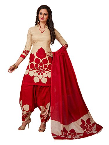 Jevi Prints Women\'s Synthetic Crepe Beige & Red Floral Printed Salwar Suit Dupatta Material (R-9159)