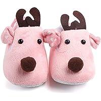 Honghopak Lovely Christmas Deer Winter Coral Velvet Super Soft Bottom Sole Shoes Boys Girls Toddler Baby Shoes Comfortable Daily Wear