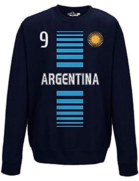Felpa Girocollo Uomo Nazione Argentina 9 Sole Calcio 2 XXL