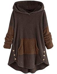 Auifor Dobladillo de Leopardo de Lana para Mujer Dobladillo con Botones Talla Grande Sudadera con Capucha Blusa Camisa de Felpa suéter